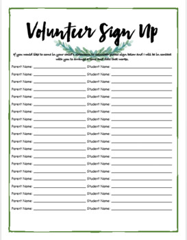 Open House Parent Sign in Sheets