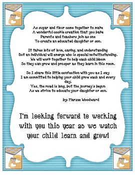 Open House Poem Printable for Parents