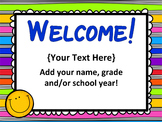 Open House PowerPoint - EDITABLE -  Parent Night PowerPoint - Bright Colors