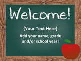 Open House PowerPoint - EDITABLE -  Parent Night PowerPoint - Chalkboard