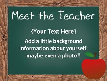 Open House PowerPoint - EDITABLE -  Parent Night PowerPoint - Chalkboard