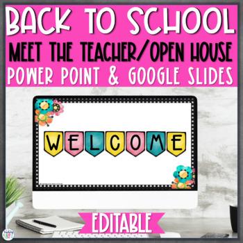 Open House/Back to School Night PowerPoint {Editable} - Polka Dot & Watercolor
