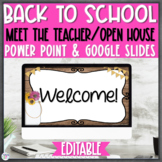 Open House Back to School Night Powerpoint Editable |Rustic Chic|