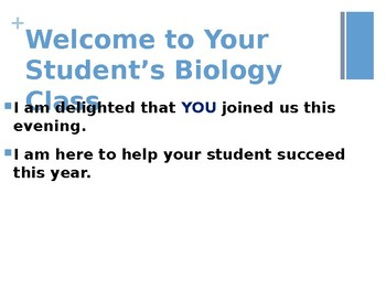 Open House PowerPoint - Editable Template - High School (Science, Biology)