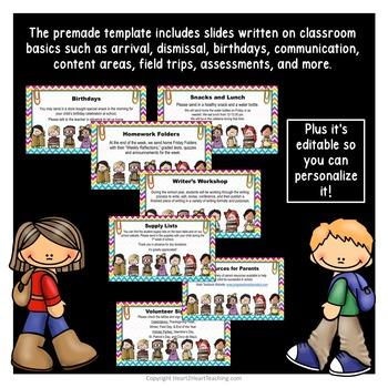 Open House PowerPoint - Meet the Teacher - Study-Buddies Design {Editable}