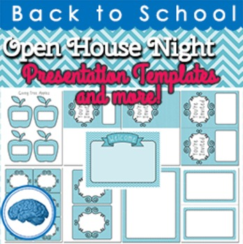 open house powerpoint template, invitations, papers aqua chevron, Modern powerpoint