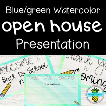 Open House Presentation- Blue & Green Watercolor