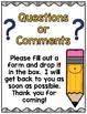 Open House Question/Comment Box