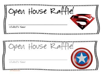 Open House Raffle Tickets - Superhero Theme