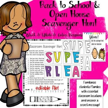 Back to School / Open House Scavenger Hunt