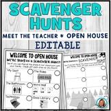 Open House Scavenger Hunt | Meet The Teacher EDITABLE