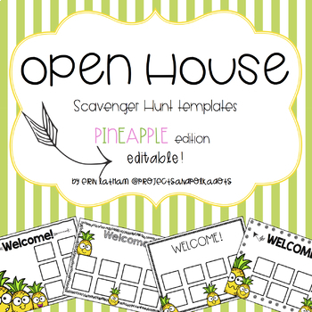 Open House Scavenger Hunt Templates Pineapples by Projects and