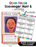 Editable Open House Scavenger Hunt and Guess Who Activity