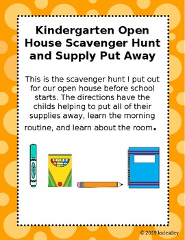 Open House Scavenger Hunt and Supply Put Away