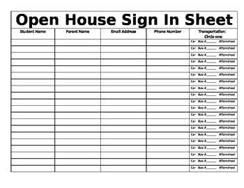 open house sign in sheet by kayla lyall teachers pay teachers. Black Bedroom Furniture Sets. Home Design Ideas