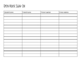 Open House Sign-In Sheet