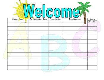 Open House Sign In Sheet Chicka Chicka Boom Boom or Alphabet Theme
