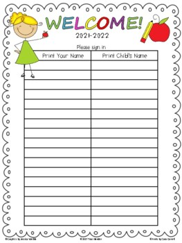 back to school sign in sheet template open house sign in sheet freebie by traci bender the