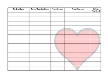 Open House Sign In Sheet Kissing Hand Theme