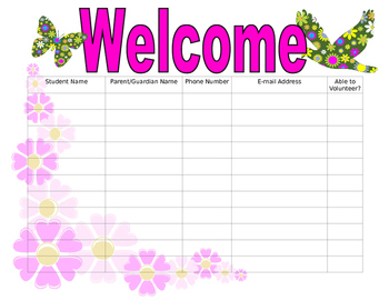 Open House Sign In Sheet floral theme