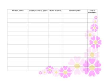 Open House Sign In Sheet Flowers Theme