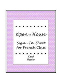 Open House ~ Sign-In Sheet for French Class