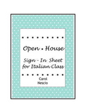 Open House ~ Sign-In Sheet for Italian Class