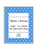 Open House ~ Sign-In Sheet for Spanish Class