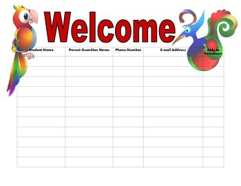 Open House Sign In Sheet jungle theme birds leaves