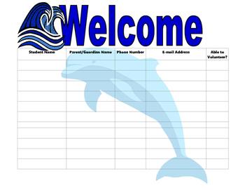 Open House Sign In Sheet ocean theme