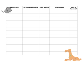 Open House Sign In Sheet pets theme
