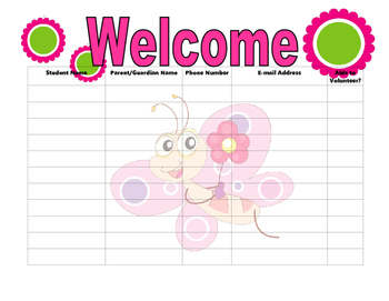 Open House Sign In Sheet pink butterfly theme