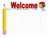 Open House Sign In Sheet school supply theme