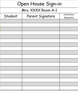 Open House Sign-In Sheets and Power Point Template