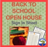 Open House Sign in Sheet for Back to School or Beginning o