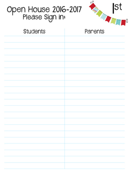 Open House Sign-in Sheets 2016-2017