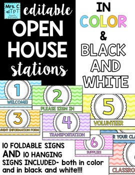 Open House Station Signs - EDITABLE