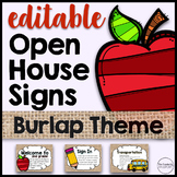 Open House Station Signs (Editable) Burlap Theme