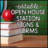 Open House Station Signs & Forms: Editable with Slides & P