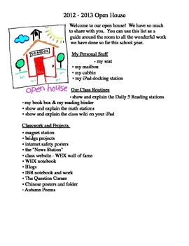 Open House Student Checklist - **Editable!
