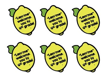 """Open House Student Gift Tags """"Lem'me"""" Welcome You to Fourth Grade Lemons"""
