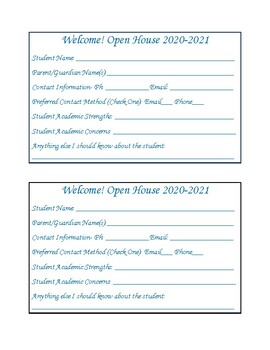 Open House Student Information Cards