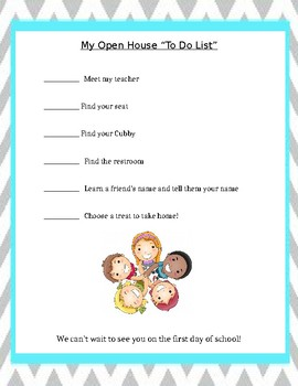 Open House Student to Do List