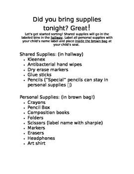 Open House Supply Directions