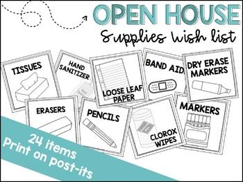 Open House Supply Wish List