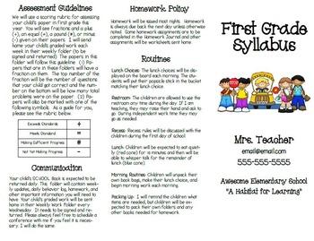 Open House Syllabus Handout