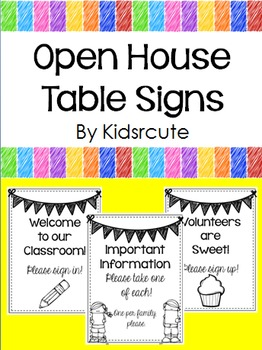 Open House Table Signs Freebie By Creative Lesson Cafe Tpt
