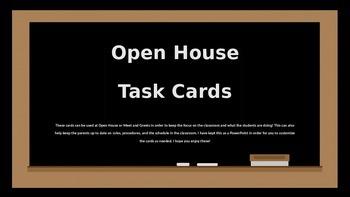Open House Task Cards (Editable)