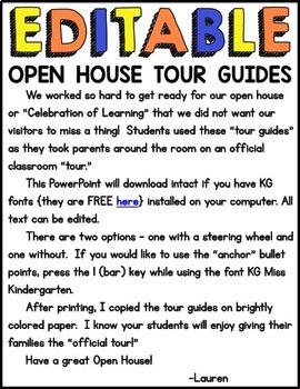 Open House Tour Guides {Editable}