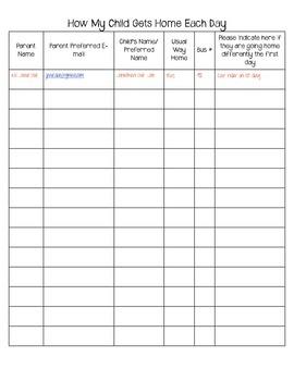 Open House Transportation Sheet